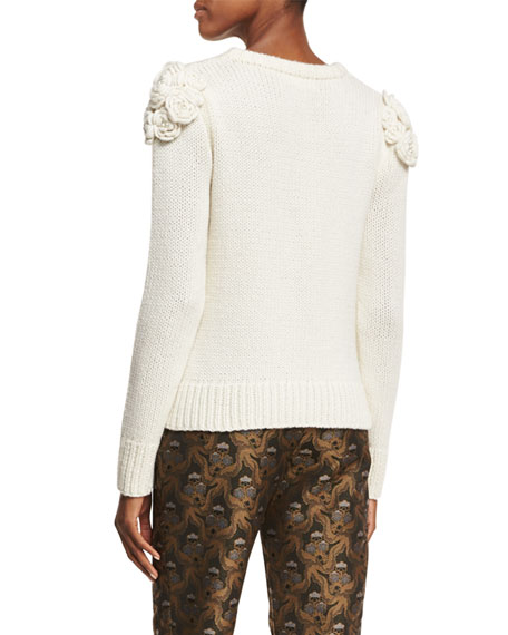 Floral-Knit Crewneck Sweater