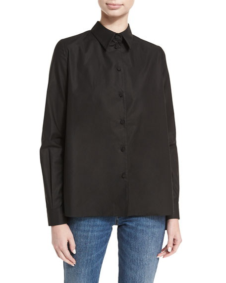 Cotton Sateen Pleated-Back Shirt