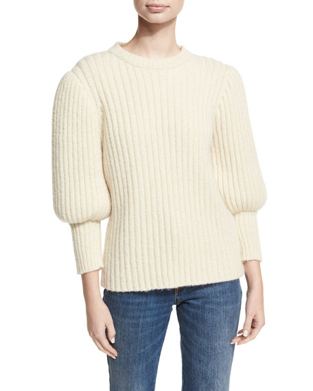 Co Ribbed Balloon-Sleeve Sweater