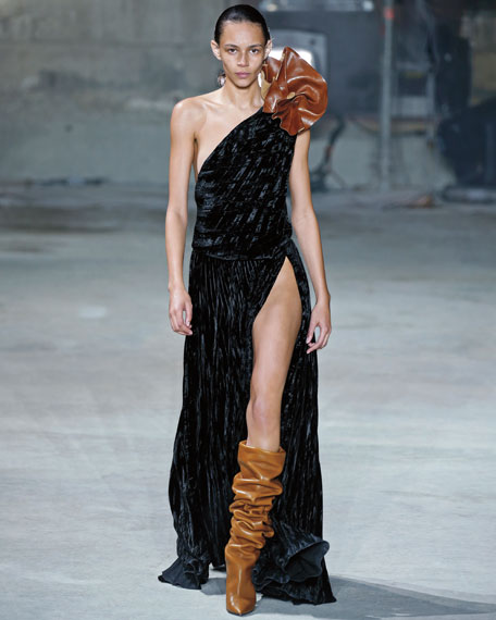 One-Shoulder Velvet Gown with Leather Flower