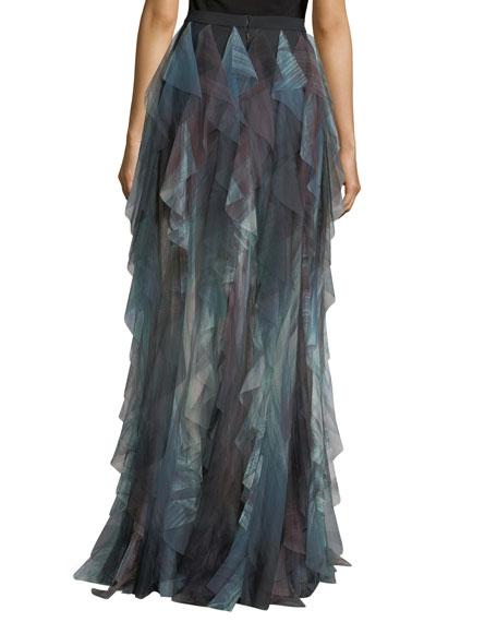 Long Ruffled Printed Tulle Skirt