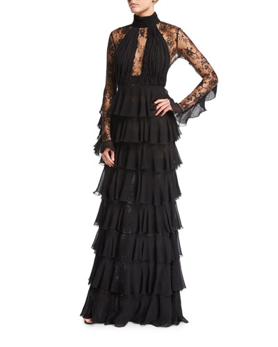 Lace-Inset Tiered High-Neck Column Gown