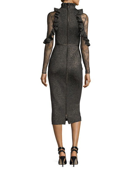 Metallic Necktie Cocktail Dress with Lace Sleeves