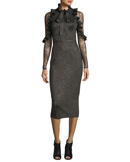Elie Saab Metallic Necktie Cocktail Dress with Lace