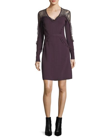 Elie Saab Ruffled Lace-Yoke Minidress