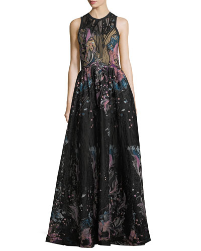 Floral-Embroidered Tulle Evening Gown
