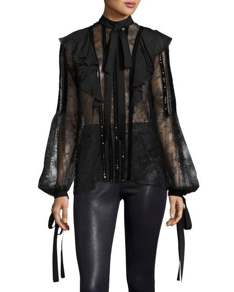 Elie Saab Sequined Lace Tie-Sleeve Ruffle Blouse