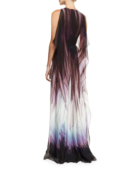 Feather-Print Sleeveless Cape Gown