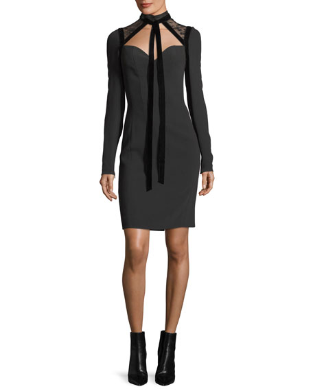 Cady & Velvet Necktie Cocktail Dress