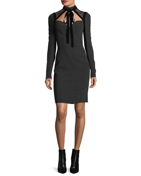 Elie Saab Cady & Velvet Necktie Cocktail Dress