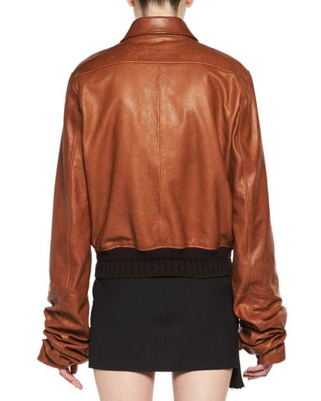 Calfskin Leather Bomber Jacket