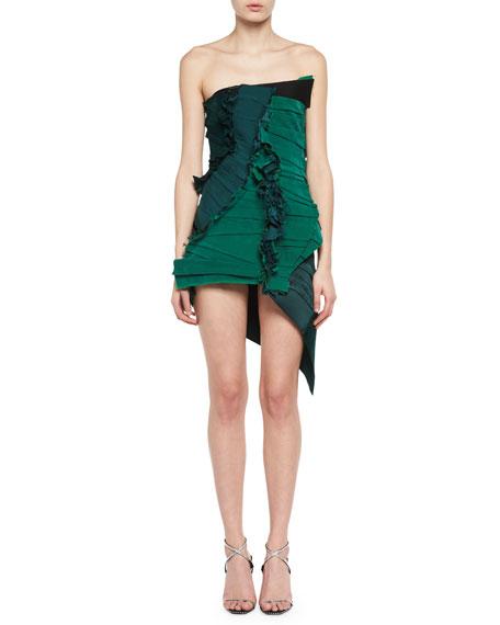 Strapless Raw-Edge Pleated Minidress
