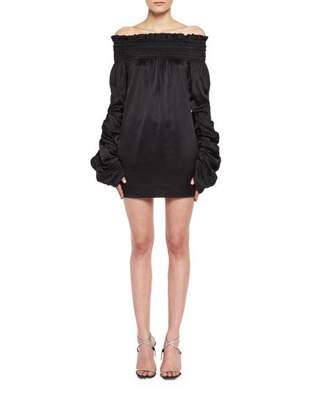 Saint Laurent Silk Satin Off-the-Shoulder Minidress