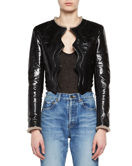 Saint Laurent Scallop-Edged Shearling-Lined Leather Jacket