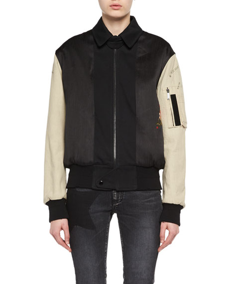 Saint Laurent Logo-Embroidered Bomber Jacket