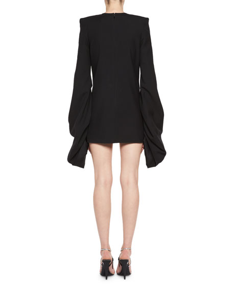 Strong-Shoulder Long-Sleeve Minidress