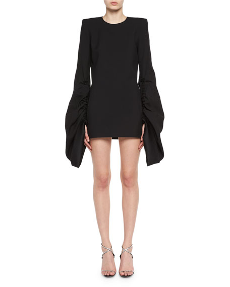 Saint Laurent Strong-Shoulder Long-Sleeve Minidress