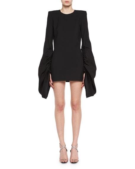 Saint Laurent Strong-Shoulder Long-Sleeve Minidress