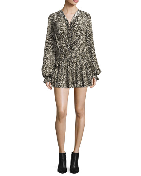 Saint Laurent Leopard-Print Silk Flounce Minidress