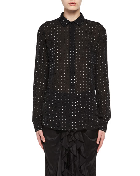 Saint Laurent Crystal-Embellished Silk Georgette Shirt