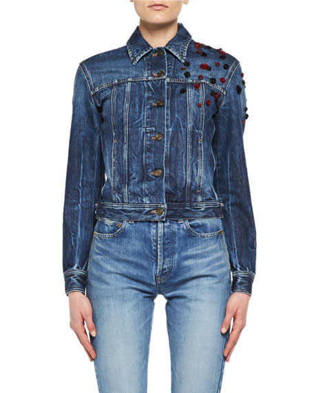Saint Laurent Cropped Jean Jacket with Rosettes and