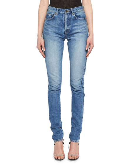Saint Laurent Mid-Rise Slim-Fit Shadow-Pocket Jeans