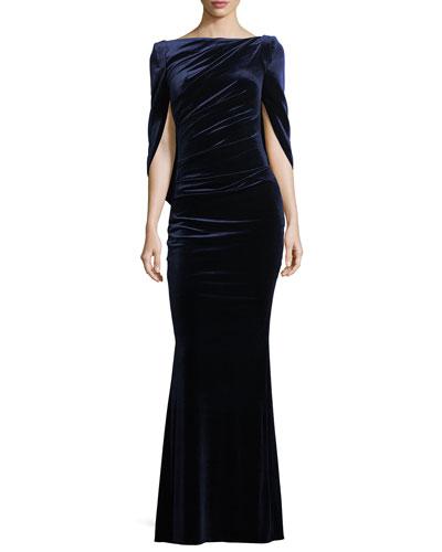 Konica Velvet Drape Back Gown