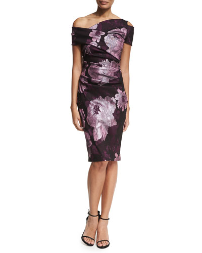 Mao Floral Jacquard Off-the-Shoulder Cocktail Sheath Dress