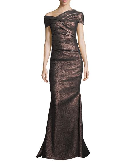 Talbot Runhof Moa Metallic One-Shoulder Ruched Gown