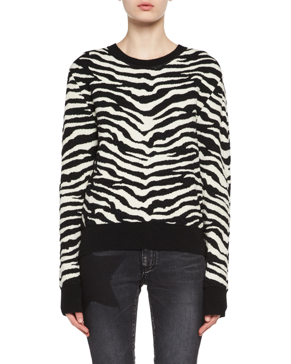 baacd3a8e2 Saint Laurent Zebra Jacquard Sweater