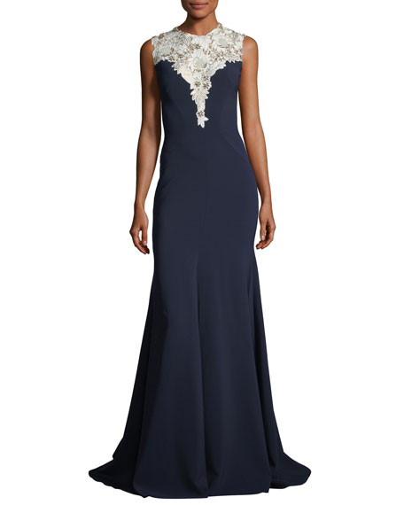 Sleeveless Crepe Evening Gown with Embellished Bodice