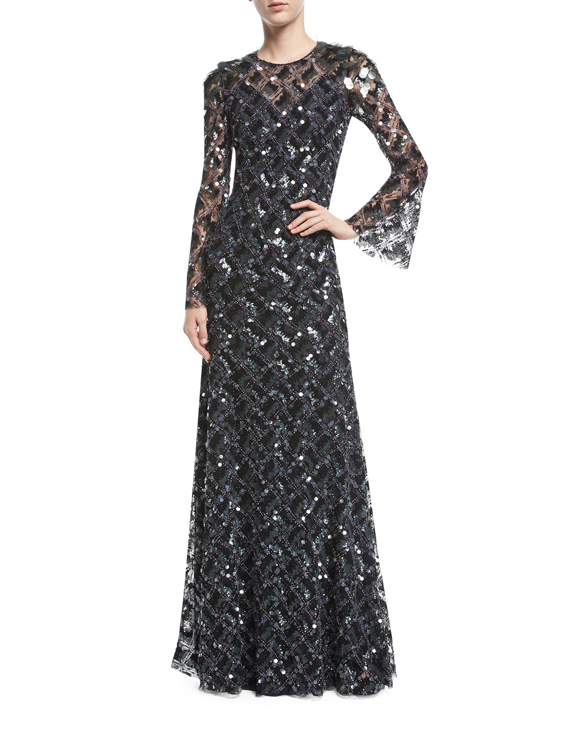 Jenny Packham Long-Sleeve Paillette-Embellished Gown | Neiman Marcus