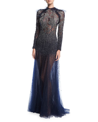 Floral-Embellished Long-Sleeve Illusion Gown