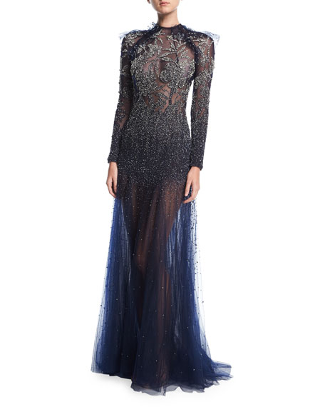 Jenny Packham Floral-Embellished Long-Sleeve Illusion Gown