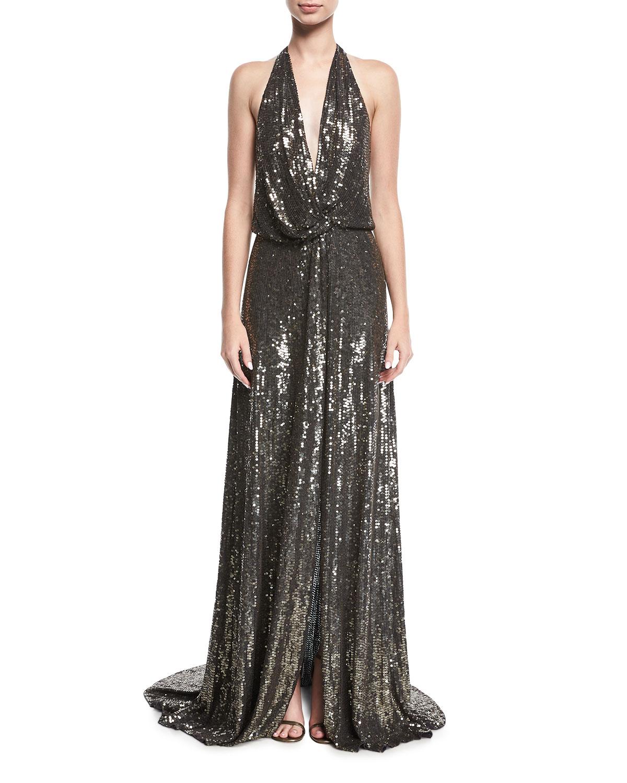 Jenny Packham Molten Sequin Halter Gown | Neiman Marcus