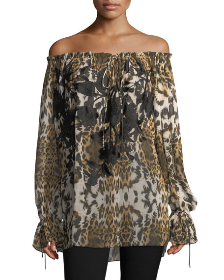 Naeem Khan Floral-Embroidered Leopard-Print Off-the-Shoulder Blouse