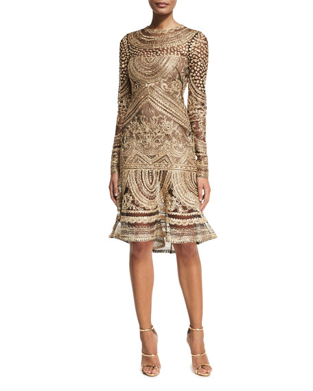 Embroidered Long-Sleeve Cocktail Dress