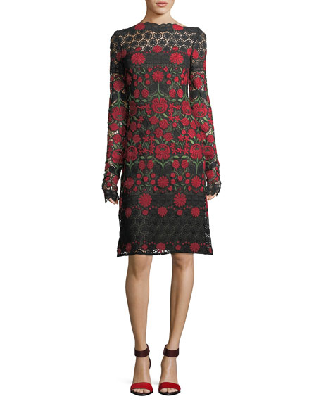 Floral-Embroidered Lace Long-Sleeve Cocktail Dress