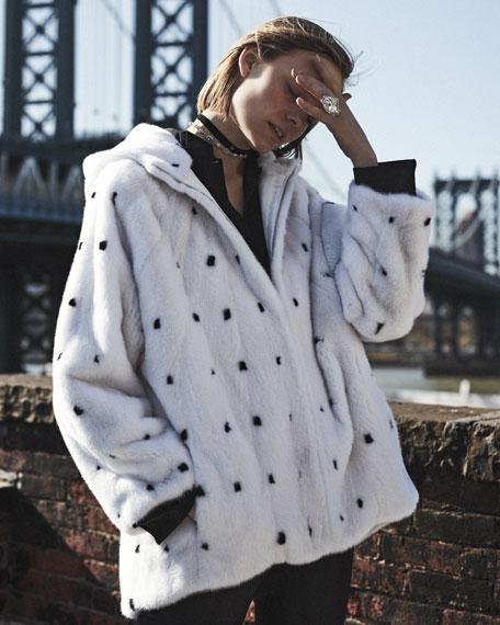 Zimbal Zip-Front Intarsia Mink Fur Jacket with Hood
