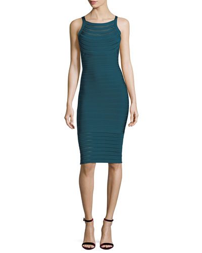 Emily Transparent Picot-Trim Sheath Dress