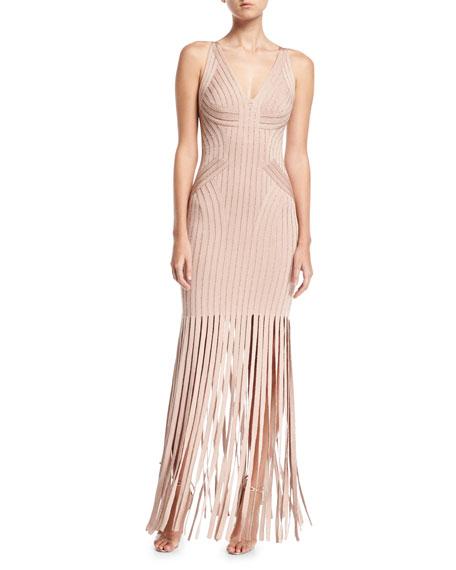 Gweneth Metallic Fringe Gown