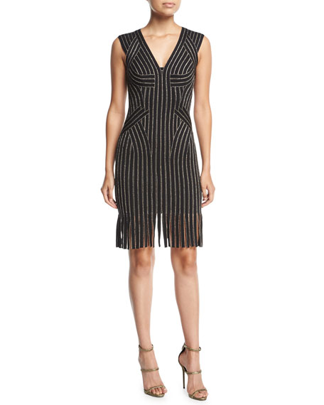 Herve Leger Lisette Metallic Fringe-Hem Cocktail Minidress