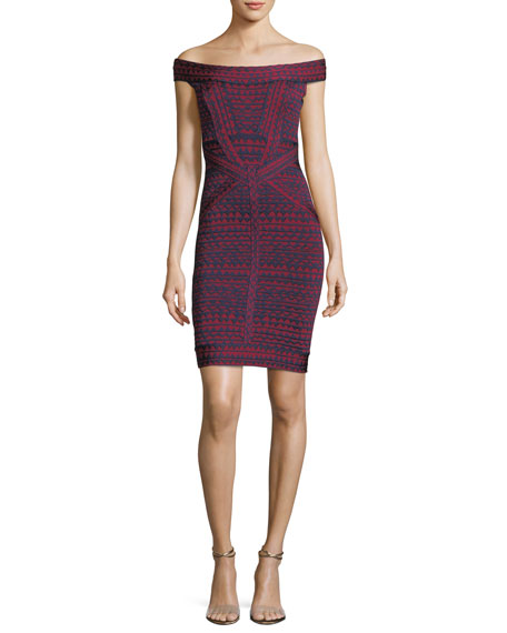 Herve Leger Off-the-Shoulder Bandage Jacquard Cocktail Minidress