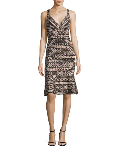 Zigzag Bandage Flounce-Hem Cocktail Dress