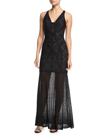 Sleeveless Lace V-Neck Gown