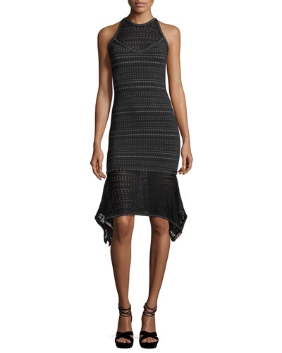 Sleeveless Weave-Pattern Dress