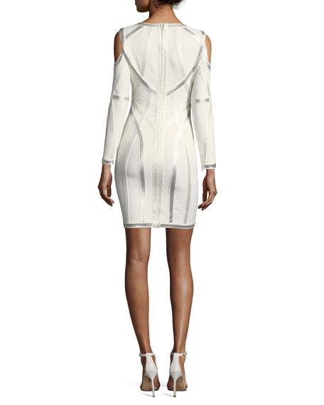 Metallic-Embroidered Cold-Shoulder Dress
