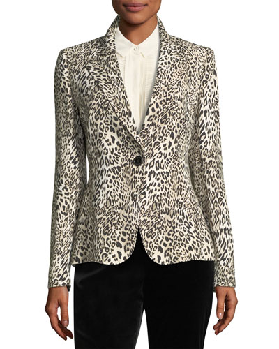 Leopard-Print One-Button Blazer