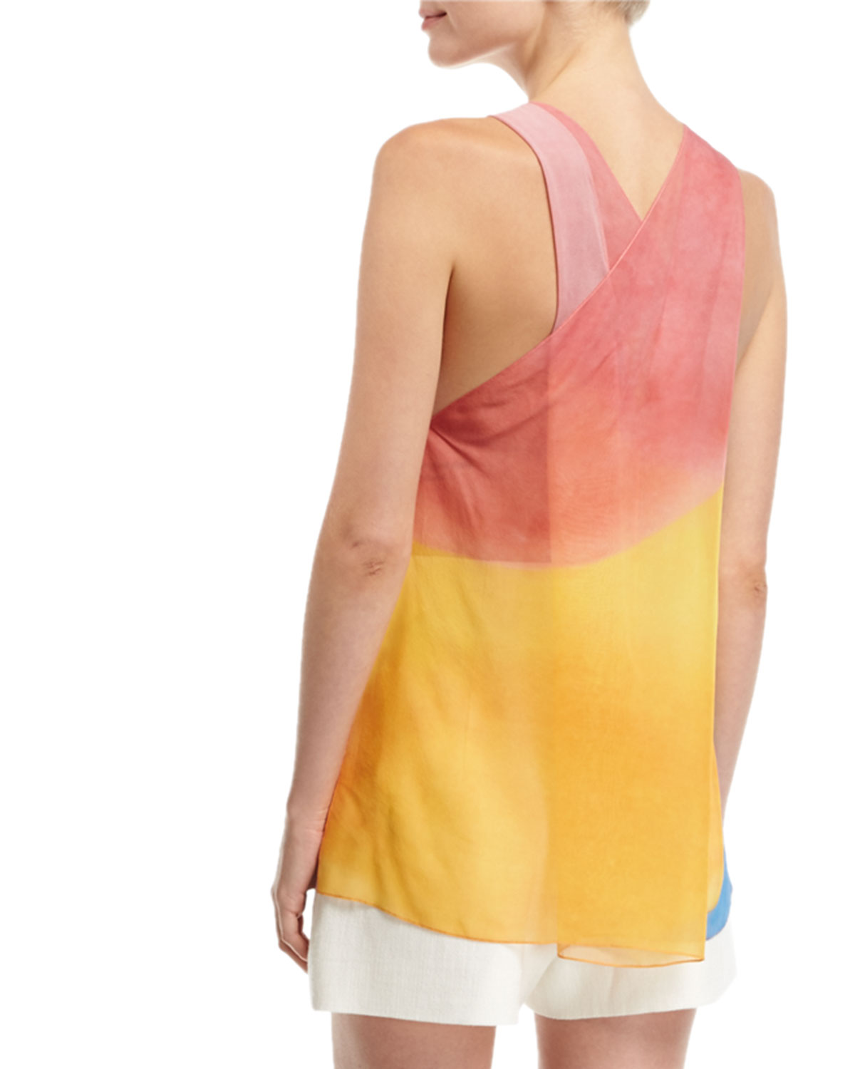 c292ab90d36c7 Rosetta Getty Watercolor Silk Twist-Back Tank and Matching Items   Matching  Items