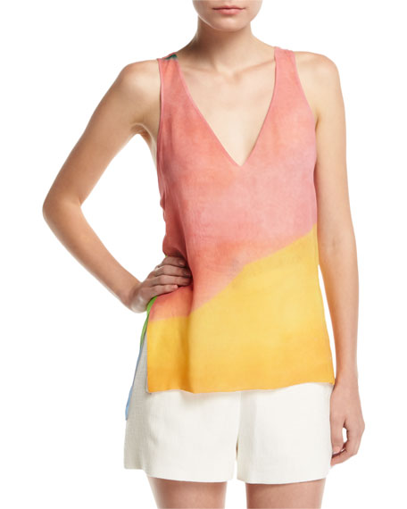 Rosetta Getty Watercolor Silk Twist-Back Tank